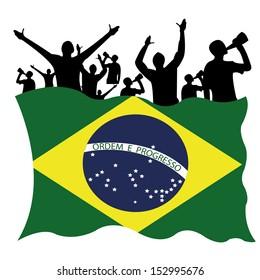 waving brazil flag with people celebrating on white background