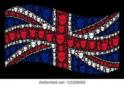 Waving British flag on a black background. Vector daemon head items are grouped into conceptual United Kingdom flag collage. Patriotic concept made of daemon head pictograms.