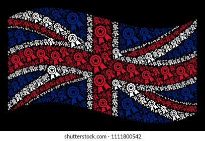 Waving British flag on a black background. Vector quality design elements are combined into mosaic United Kingdom flag composition. Patriotic concept composed of quality icons.