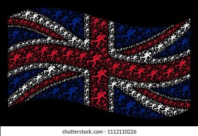 Waving British flag on a black background. Vector scuba diver icons are placed into conceptual UK flag composition. Patriotic composition done of scuba diver design elements.