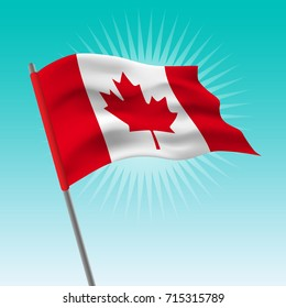 Waving Canada flag. Vector drawing illustration of flag.