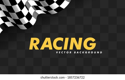 Waving checkered flag along the edges on a black and blue background. Modern illustration. Racing flag. Banner for a sports club or racing competition.