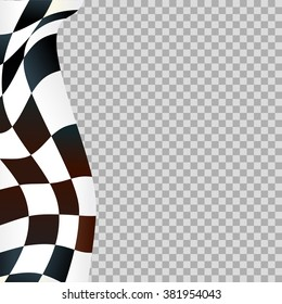Waving checkered flag on transparent background
