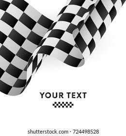 Waving checkered flag. Racing flag. Vector illustration.