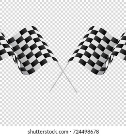 Waving checkered flags on transparent background. Racing flags. Vector illustration.