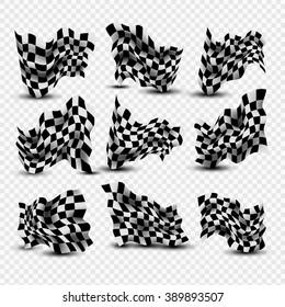 Waving Checkered Flags set