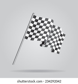 Waving Checkered racing flag. Vector