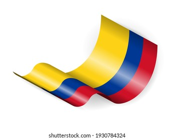 Waving Colombia flag on a white background. Vector illustration.
