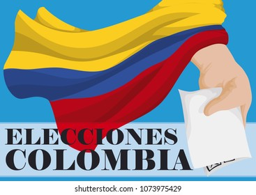 Waving Colombian flag over hand with electoral card voting to promote Elections in Colombia (written in Spanish).