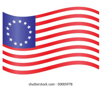 Waving Colonial U.S. Flag