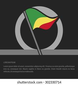 Waving Congo Flag badge design - independence day Label - Vector illustration