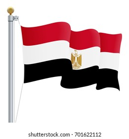 Waving Egypt Flag Isolated On A White Background. Vector Illustration. Official Colors And Proportion. Independence Day