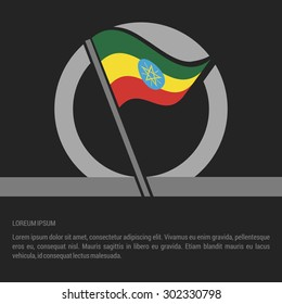 Waving Ethiopia Flag badge design - independence day Label - Vector illustration