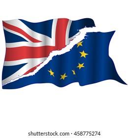Waving EU and UK flags torn apart. Brexit concept. Vector.