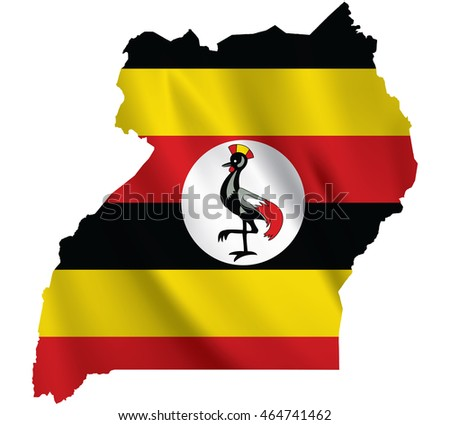 Waving Fabric Flag Map Uganda Vector De Stock Libre De