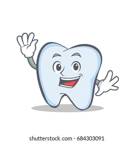 Waving face tooth character cartoon style