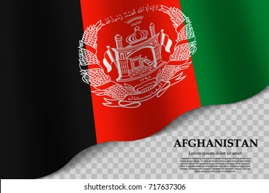 waving flag of Afghanistan on transparent background. Template for independence day. vector illustration