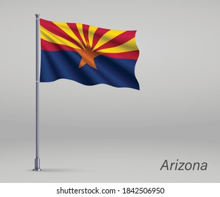 Waving flag of Arizona - state of United States on flagpole. Template for independence day poster