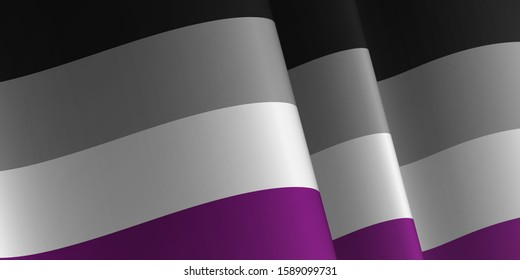 Waving flag of Asexual. LGBT, LGBTQ, LGBTQ+ Template, banner, background. Month pride. Symbol, illustration.