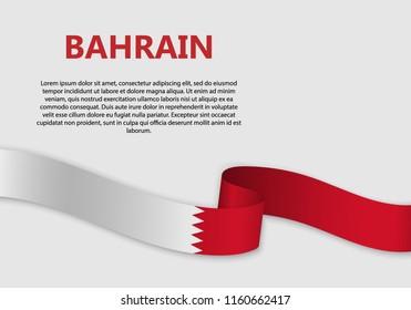 Waving Flag of Bahrain, vector illustration