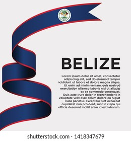 waving flag of Belize on white background. Template for independence day. vector illustration - Vector
