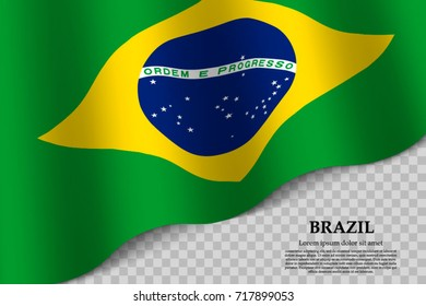 waving flag of Brazil on transparent background. Template for independence day. vector illustration