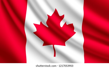 Waving flag of Canada. Vector illustration of Canada 3D icon