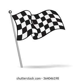 Waving flag with checkered Black & White racing Pattern, motor sport element, Vector Illustration
