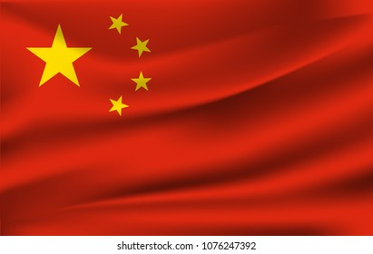 Waving flag of China, vector. 10 eps