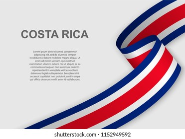 waving flag of Costa Rica. Template for independence day. vector illustration