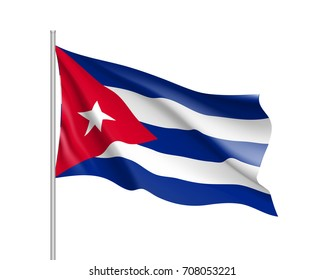 Waving flag of Cuba. Illustration of North America country flag on flagpole. 3d vector icon isolated on white background