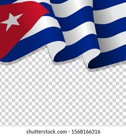 Waving flag of Cuba. illustration of wavy Cuba Flag for National Day. Cuba Flag Flowing. Cuba flag on transparent background