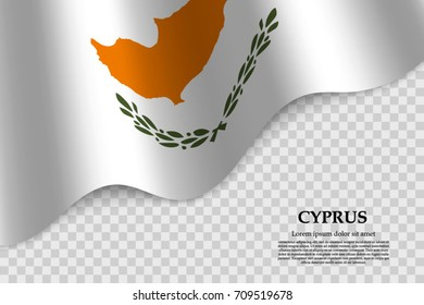 waving flag of Cyprus on transparent background. Template for independence day. vector illustration