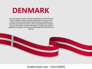 Waving Flag of Denmark, vector illustration