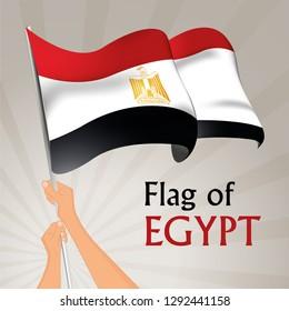 Waving flag of Egypt. Vector illustration