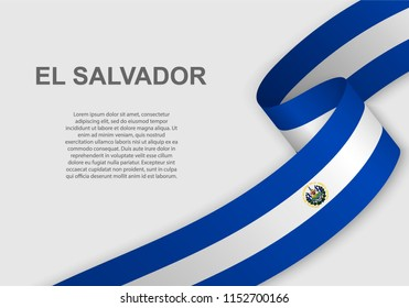 waving flag of El Salvador. Template for independence day. vector illustration