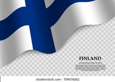 waving flag of Finland on transparent background. Template for independence day. vector illustration