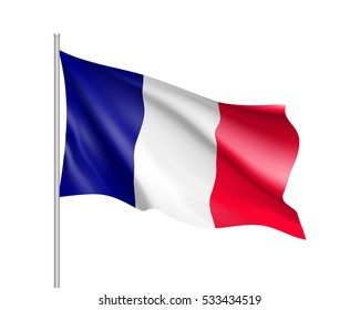 Waving flag of France state. Illustration of European country flag on flagpole with red and white colors. Vector 3d icon isolated on white background