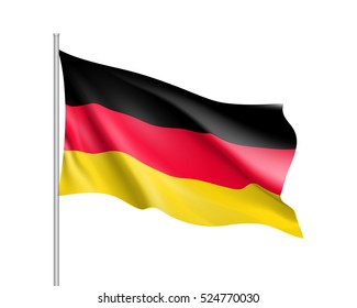 Waving flag of Germany state. Illustration of European country flag on flagpole with red and white colors. Vector 3d icon isolated on white background