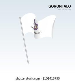 Waving flag of Gorontalo Provinces of Indonesia on gray background