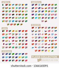 Waving flag icon, big flags collection sorted by continents and alphabetically. Vector illustration.