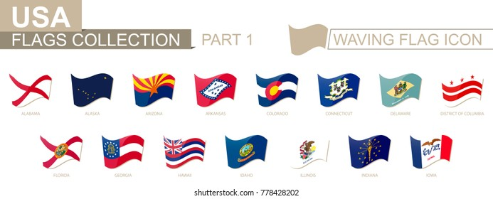 Waving flag icon, flags of the US states sorted alphabetically, from Alabama to Iowa.Vector illustration.