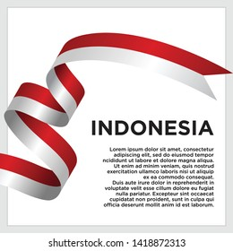 waving flag of Indonesia on white background. Template for independence day. vector illustration - Vector