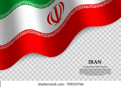 waving flag of Iran on transparent background. Template for independence day. vector illustration