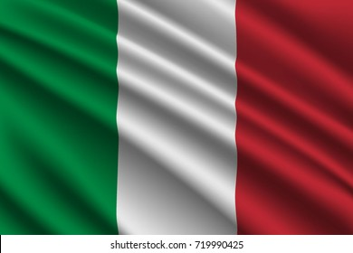 waving flag of Italy on silk background