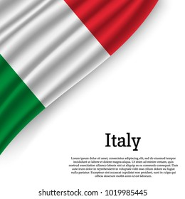 waving flag of Italy on white background. Template for independence day. vector illustration
