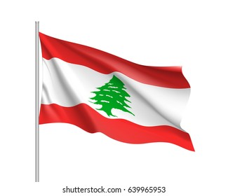 Waving flag of Lebanese Republic. Illustration of Asian country flag on flagpole. Vector 3d icon isolated on white background