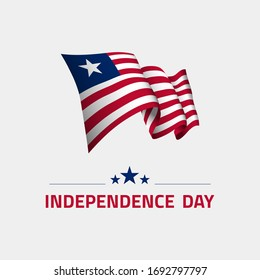 Waving flag of Liberia for independence day greeting card, banner and social media isolated on white background vector illustration EPS 10