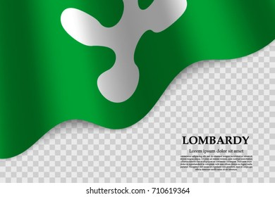 waving flag of Lombardy is a province of Italy on transparent background. Template for banner or poster. vector illustration