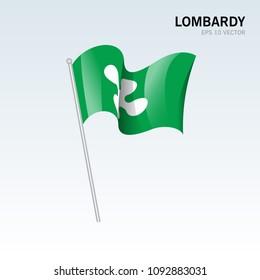 Waving flag of Lombardy regions,autonomous regions of Italy on gray background